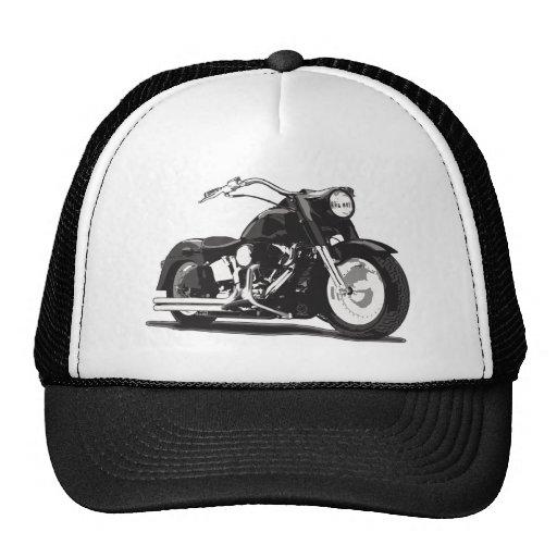 Motocicleta negra de Harley Gorra