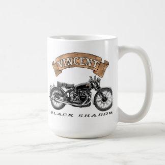 Motocicleta negra de la sombra de Vincent Taza Básica Blanca