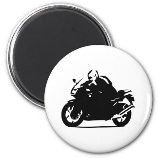 motocicleta negra del icono del motorista imán redondo 5 cm