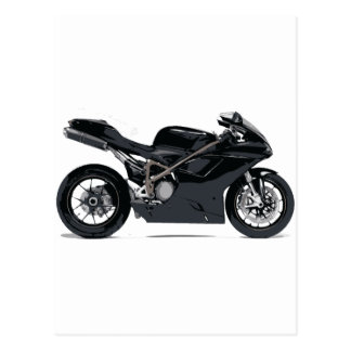Motocicleta negra rápida postales