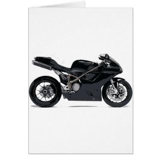 Motocicleta negra rápida tarjeta de felicitación