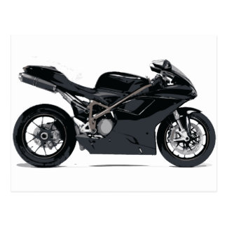 Motocicleta negra rápida tarjeta postal
