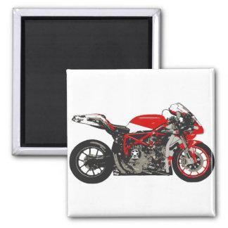 Motocicleta que compite con roja impresionante imán cuadrado