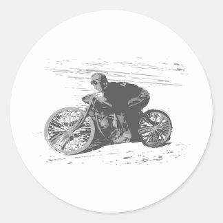 Motocicleta Racer#3 de la pista del tablero del Pegatinas Redondas