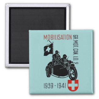 Motocicleta renovada suiza de WWII Imán Cuadrado