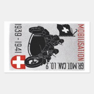 Motocicleta renovada suiza de WWII Rectangular Pegatina