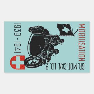 Motocicleta renovada suiza de WWII Pegatina Rectangular