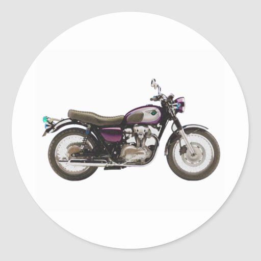 Motocicleta retra pegatina redonda