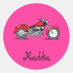 Motocicleta roja del dibujo animado - moto pegatina redonda