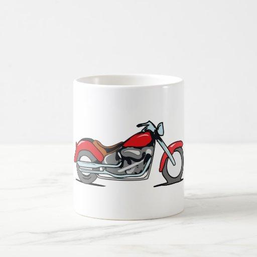 Motocicleta roja del dibujo animado - moto taza de café
