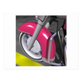 Motocicleta rosada postal