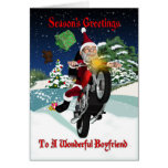 Motocicleta Santa del novio con los regalos del Felicitacion