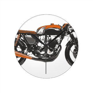 Motocicleta simple - dibujo del corredor 750 del c reloj redondo mediano