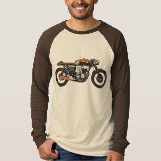 Motocicleta simple - dibujo del corredor del café playeras