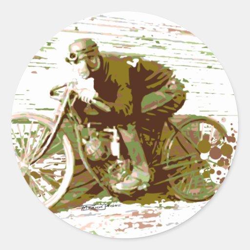 Motocicleta verde de la pista del tablero del vint pegatina