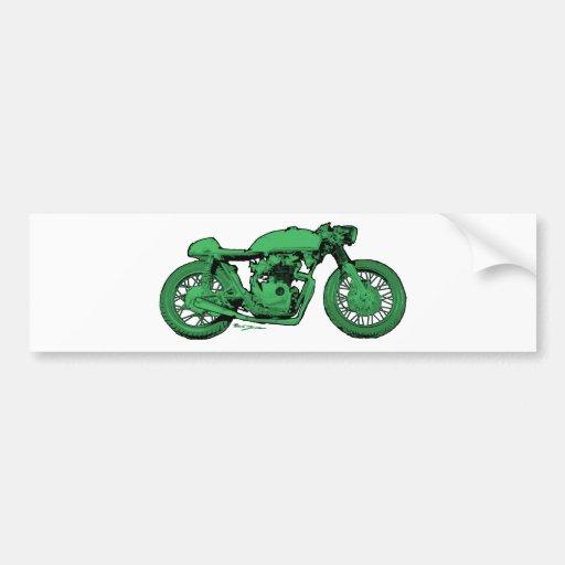 Motocicleta verde del vintage del corredor del caf pegatina para auto