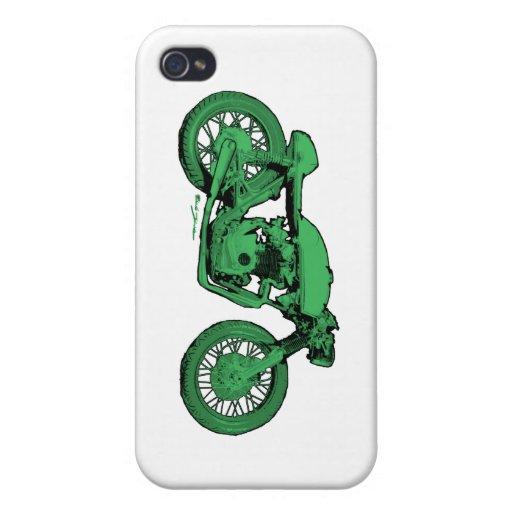 Motocicleta verde del vintage del corredor del caf iPhone 4 funda