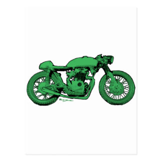 Motocicleta verde del vintage del corredor del caf tarjeta postal