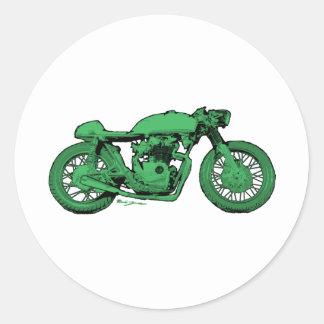Motocicleta verde del vintage del corredor del pegatinas redondas