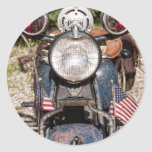 motocicleta vieja de la policía de Harley-Davidson Pegatina Redonda