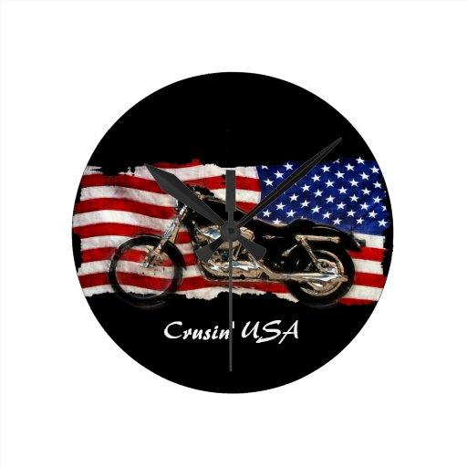 Motocicleta y diseño de la bandera de los E.E.U.U. Reloj