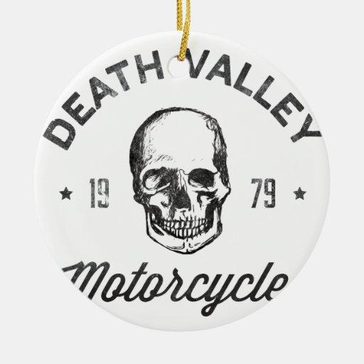 Motocicletas de Death Valley Adorno Navideño Redondo De Cerámica