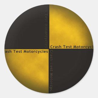 Motocicletas de la prueba del desplome etiqueta redonda
