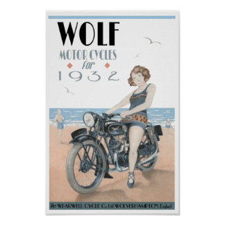 Motocicletas del lobo póster