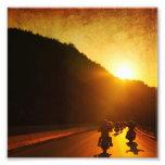 Motocicletas en la puesta del sol impresion fotografica