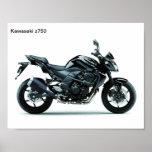 motocicletas Kawasaki z750 Póster