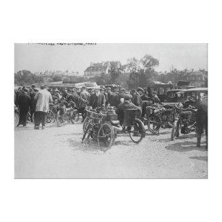 Motocicletas requisadas, fotografía de París Impresión En Lienzo Estirada