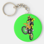 Motocross 400 basic round button keychain