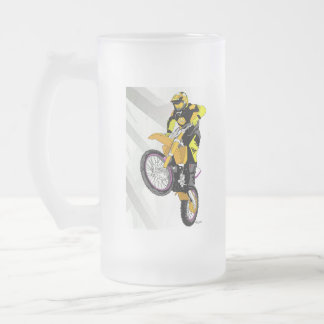 Motocross 401 frosted glass beer mug