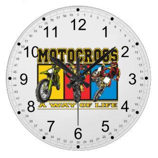 Motocross A Way of Life Large Clock