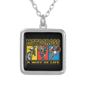 Motocross A Way of Life Silver Plated Necklace