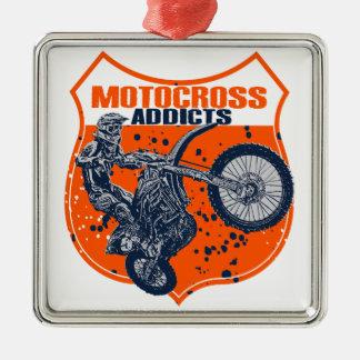 Motocross addicts metal ornament