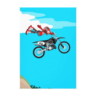 Motocross carries far flying by the air canvas print