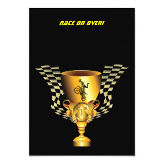 Motocross champion trophy with Checkered flags Card