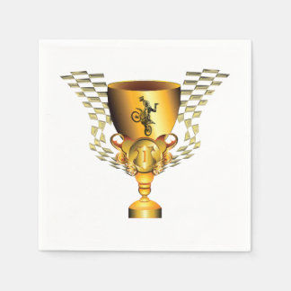 Motocross champion trophy with Checkered flags Standard Cocktail Napkin