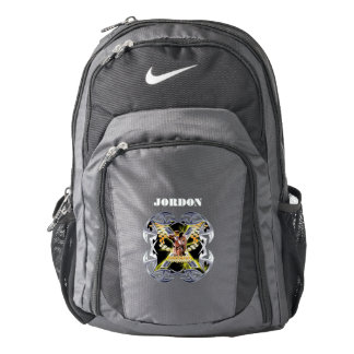 MOTOCROSS checkered flags and chrome Nike Backpack