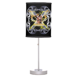 Motocross checkered flags and chrome table lamp