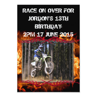 Motocross checkered flags and fire customizable 5x7 paper invitation card
