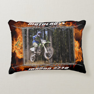 Motocross checkered flags and fire customizable accent pillow
