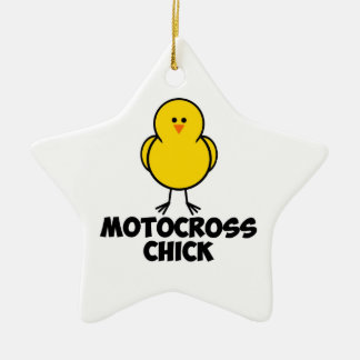 Motocross Chick Ceramic Ornament