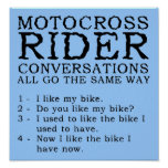 Motocross Conversations Funny Dirt Bike Poster Sig
