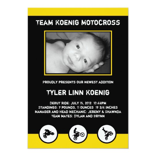 Motocross Dirt Bike Birth Announcement Yellow