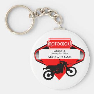 Motocross Dirt Bike Black Red Customize Logo Keychain