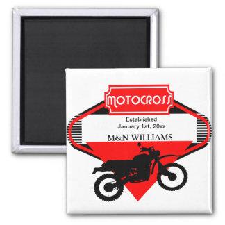 Motocross Dirt Bike Black Red Customize Logo Magnet
