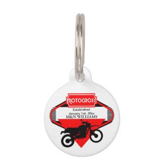 Motocross Dirt Bike Black Red Customize Logo Pet Name Tag