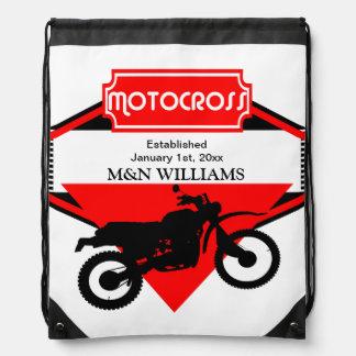 Motocross Dirt Bike Black Red Customize Logo Backpack